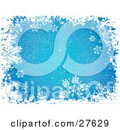 Scratched Blue Background Of White Grunge And Snowflakes Over Blue