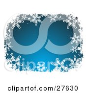 Clipart Illustration Of A White Snowflake Border Around A Gradient Blue Center