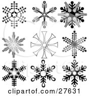 Clipart Illustration Of A Collection Of Nine Black And White Snowflakes With Interesting Designs