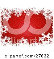 Clipart Illustration Of A Border Of White Snowflakes And Grunge With A Bursting Red Background