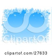 Clipart Illustration Of A Border Of White Snowflakes Bordering A Blue Background With Gradient Tones