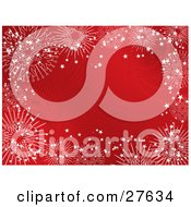 Clipart Illustration Of Large White Intricate Snowflakes Bordering A Red Bursting Background
