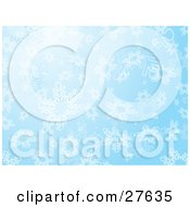 Clipart Illustration Of Big White Snowflakes Falling Down In A Blue Sky