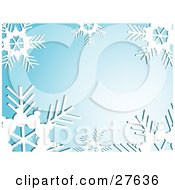 Clipart Illustration Of A Bold White Snowflakes Bordering A Blue Background With A Burst Of White Light