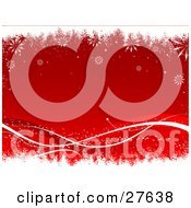 Clipart Illustration Of A Red Background With White And Red Waves Along The Bottom Bordered By White Grunge And Falling Snowflakes