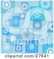 Clipart Illustration Of A Blue Background Of Snowflakes In Rectangles And Squares