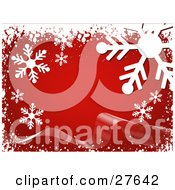 Clipart Illustration Of Big White Snowflakes And Snow Over A Red Background With A Ribbon Wave