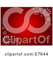 Clipart Illustration Of A Gradient Red Background With White Snowflakes In The Upper Right And Lower Left Corners
