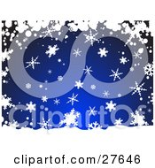 Clipart Illustration Of Snow And Snowflakes Falling Over A Dark Blue Background