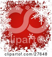 Clipart Illustration Of A Grunge White Border Of Snow And Snowflakes Around A Red Background