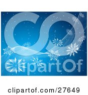 Clipart Illustration Of A Snowy Blue Background With White Waves And Snowflakes Spanning Diagonally Across