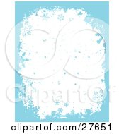 Clipart Illustration Of A White Background Of Blue Falling Snow And Snowflakes With A Blue Grunge Border