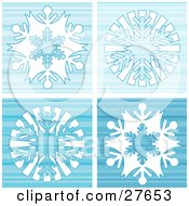 Clipart Illustration Of A Blue Striped Background Of Four White Snowflakes