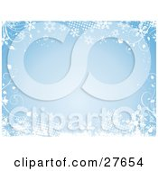 Clipart Illustration Of A Blue Background Bordered By White Vines Grunge Dots And Snowflakes