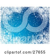 Clipart Illustration Of A Blue Background With White Snow And Big Icy Snowflakes Bordering Around The Center
