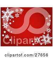 Clipart Illustration Of A Red Background With White Stars And Snowflakes In The Upper Left And Lower Right Corners