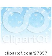 Clipart Illustration Of A Gradient Blue Background Fading To White With Falling Snowflakes