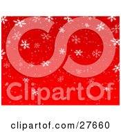 Clipart Illustration Of A Red Background Of Falling White Snowflakes And Snow