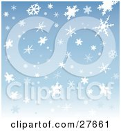 Clipart Illustration Of A Patterned Background Of White And Light Blue Snowflakes Over Blue