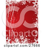 Clipart Illustration Of A Red Background Bordered By White And Red Ribbons Snow Snowflakes And Stars