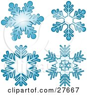Clipart Illustration Of Four Blue Snowflakes Over A White Background