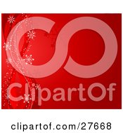 Clipart Illustration Of A Gradient Red Background With Silhouetted Snowflakes Waves And White Snow Flakes Along The Left Side
