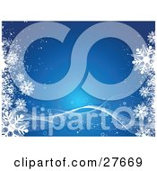 Clipart Illustration Of A Blue Background With White Waves Twisting Along The Bottom And Snowflakes On The Left And Right Sides