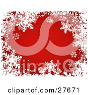 Clipart Illustration Of A Bursting Red Background Bordered With White Grunge And Snowflakes