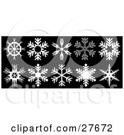 Clipart Illustration Of A Collection Of Ten White Snowflakes With Unique Designs Over Black