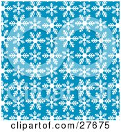 Patterned Background Of White Snowflakes Over Blue