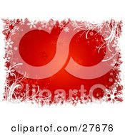 Clipart Illustration Of A White Grunge Grasses And Snowflakes Over A Red Background Of Faded Snowflakes