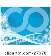 Clipart Illustration Of A Blue Wave Background With White And Blue Lines And Snowflakes