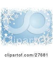 Clipart Illustration Of A Border Of White Snow Stars And Snowflakes With A Blue Background