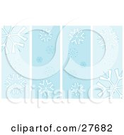 Clipart Illustration Of A Background Of Four Vertical Spaces With White Snowflake Patterns