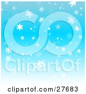 Clipart Illustration Of A Background Of Pretty White And Blue Snowflakes Falling Over A Blue Sky
