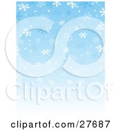 Clipart Illustration Of A Background Of Blue And White Falling Snowflakes With A Gradient Blue To White Background