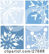 Clipart Illustration Of A Background Of Four Different White Snowflakes In Blue Squares