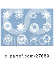 Clipart Illustration Of A Collection Of Twelve Interesting White Snowflakes With Different Designs Over Blue