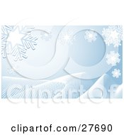 Clipart Illustration Of White Snowflakes Over A Pale Blue Background With White Waves Along The Bottom