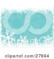 Clipart Illustration Of A Border Of White Snow And Snowflakes Over A Green Background