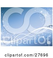 Clipart Illustration Of A Blue Background With White Waves Along The Bottom Snow And Snowflakes