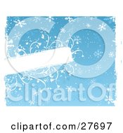 Clipart Illustration Of A Blue Background With White Snowflakes And Snow Bordered By White Grunge And A Blank Text Box With Flowers Along The Edges Of The Space by KJ Pargeter