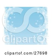 Clipart Illustration Of White Snowflakes And Waves Bordering The Right And Left Sides Of A Blue Background
