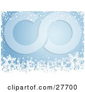 Clipart Illustration Of A Border Of White Stars Snow And Snowflakes Over Blue