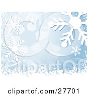 Clipart Illustration Of A Snowflake Background With Blue Tones White Waves And Snow