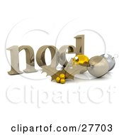 Clipart Illustration Of A Golden Noel Christmas Greeting With Gold Holly And Ornaments