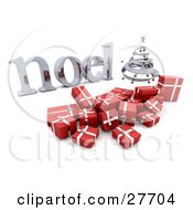 Clipart Illustration Of A Silver Spiral Christmas Tree And Red Gifts With A Silver Noel Greeting