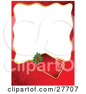 Clipart Illustration Of A Red Snowflake Background Bordering A Blank White Space With A Star Gift Tag And Holly