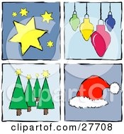 Clipart Illustration Of A Collection Of Four Blue Squares With Stars Ornaments Trees And A Santa Hat