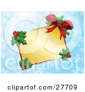 Blank Golden Gift Tag Label With Holly Berries And A Red Bow Over A Blue Snowflake Background
